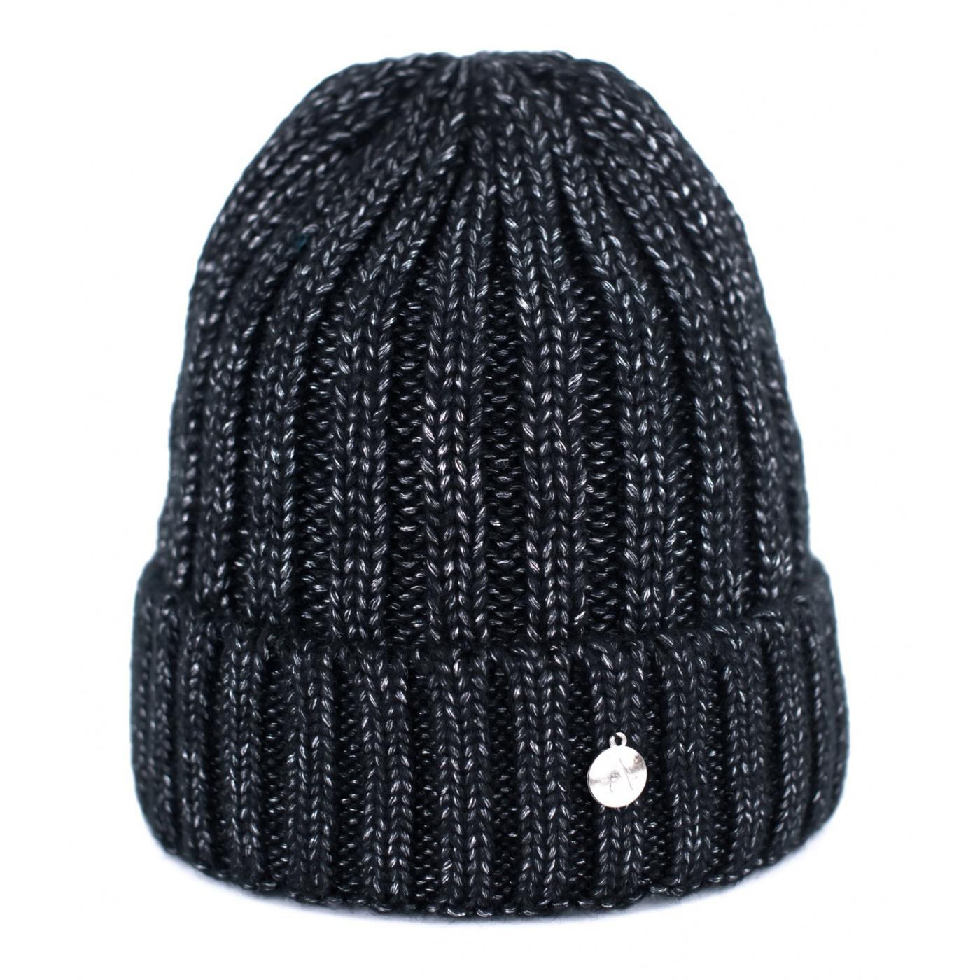 Czapka zimowa damska w prążki - czarna i srebrna nitka