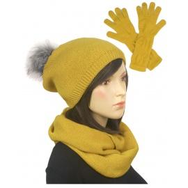Komplet damski na zimę czapka z pomponem, komin i długie rękawiczki - musztardowy 2