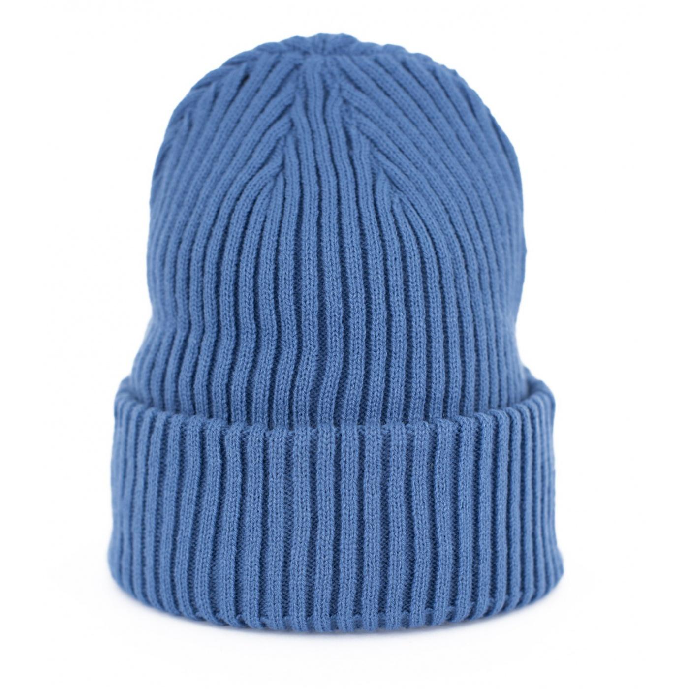 Czapka zimowa damska w prążki - niebieska