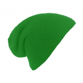 Męska czapka beanie w prążki 3w1 - zielona