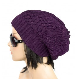 Damska czapka krasnal – śliwkowa