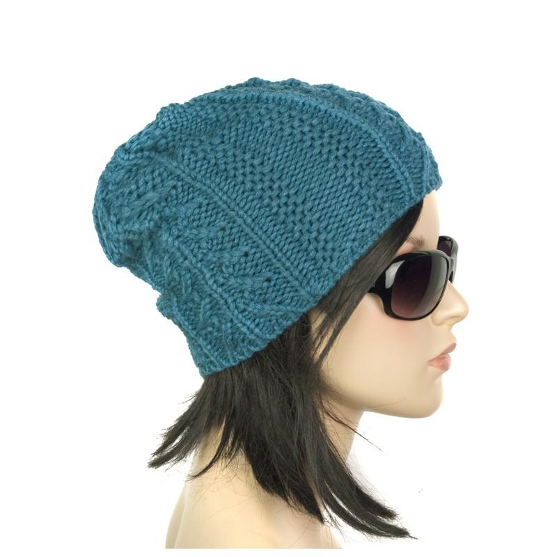 Damska zimowa czapka krasnal – morska