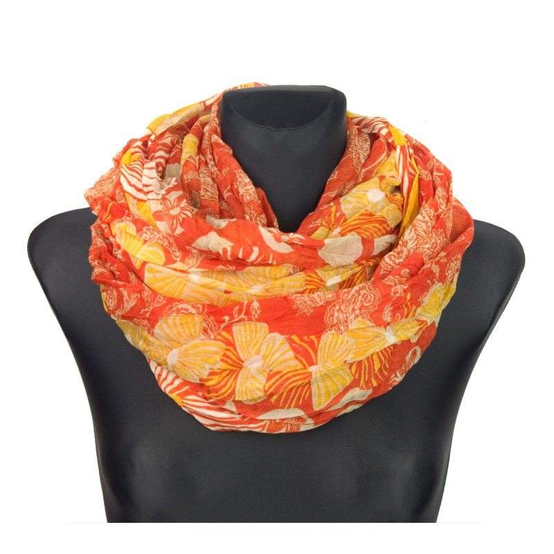 Szalik w folkowe wzory i kwiaty – pomarańczowy