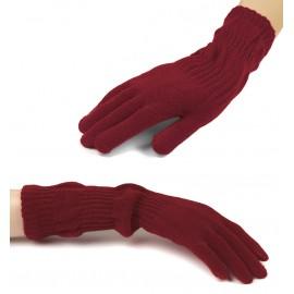 Damskie długie rękawiczki - bordowe
