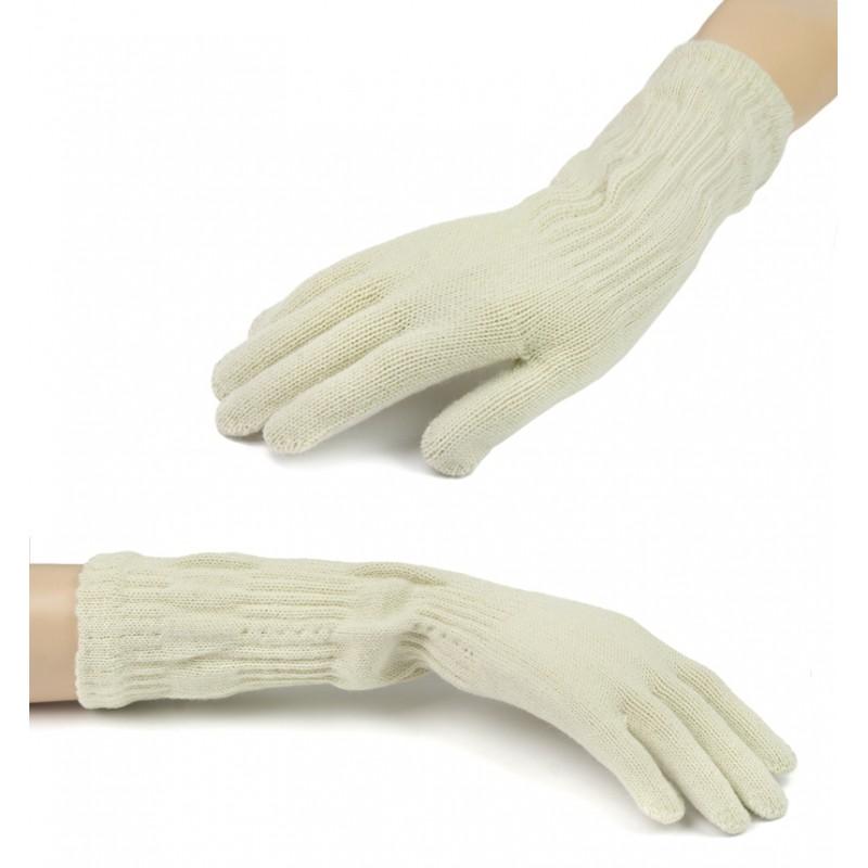 Damskie długie rękawiczki - beżowe