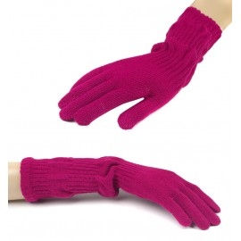 Damskie długie rękawiczki - ciemnoróżowe