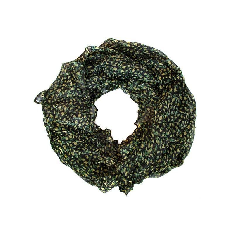 Szalik komin czarny w zielone kwiatuszki