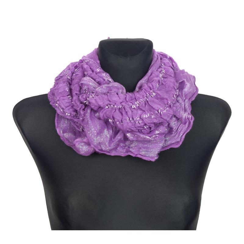 Szalik komin z połyskującą nitką i marszczeniami – fioletowy