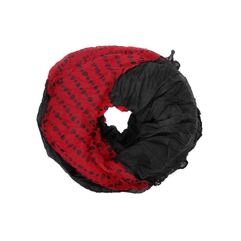 Szalik tuba w groszki czarno-czerwony