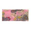 Apaszka w kolorowe pióropusze – pastelowy różowy