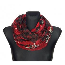 Szalik komin w folkowe wzory i kwiaty – czarny z czerwienią