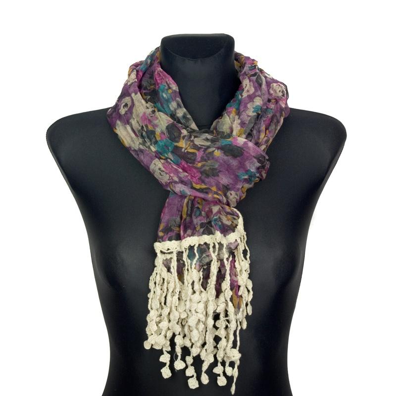 Kolorowy szalik w kwiaty z koralikami (5) – fioletowy