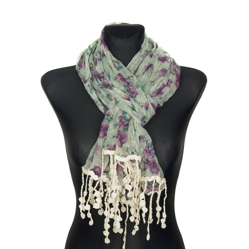 Kolorowy szalik w kwiaty z koralikami (19) – zieleń z fioletem