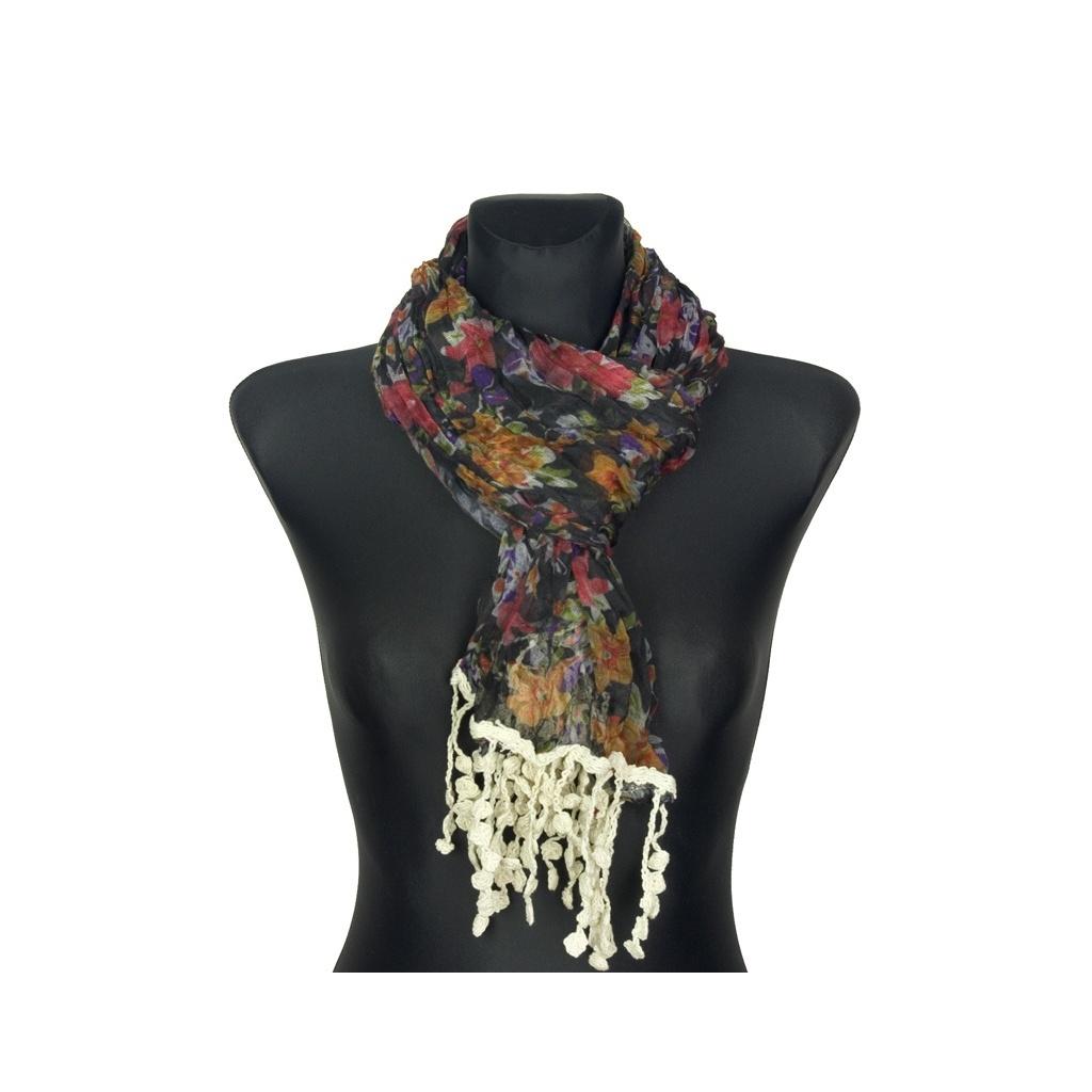 Kolorowy szalik w kwiaty z koralikami (46)