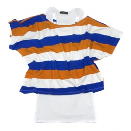 Bluzka 2w1 bokserka z t-shirtem w paski odsłaniającym ramię