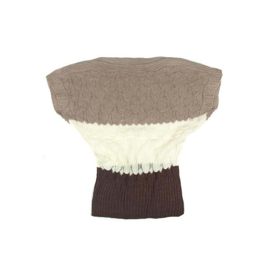 Ażurowy sweterek nietoperz w paski – brąz / cappuccino / kremowy