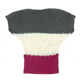 Ażurowy sweterek nietoperz w paski – róż / grafit / kremowy