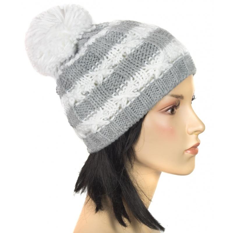 Modna czapka zimowa z dużym pomponem (10)
