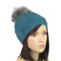 Damska czapka zimowa z futrzanym pomponem: popielata