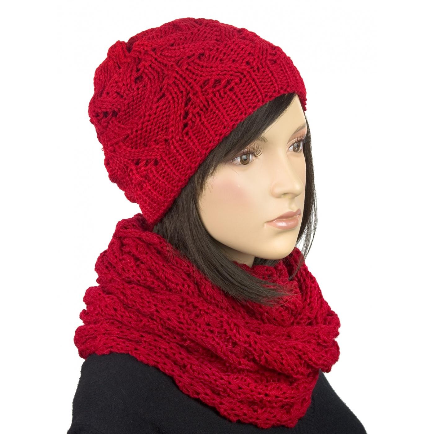 Komplet - Czapka zimowa damska i ciepły komin: czerwony