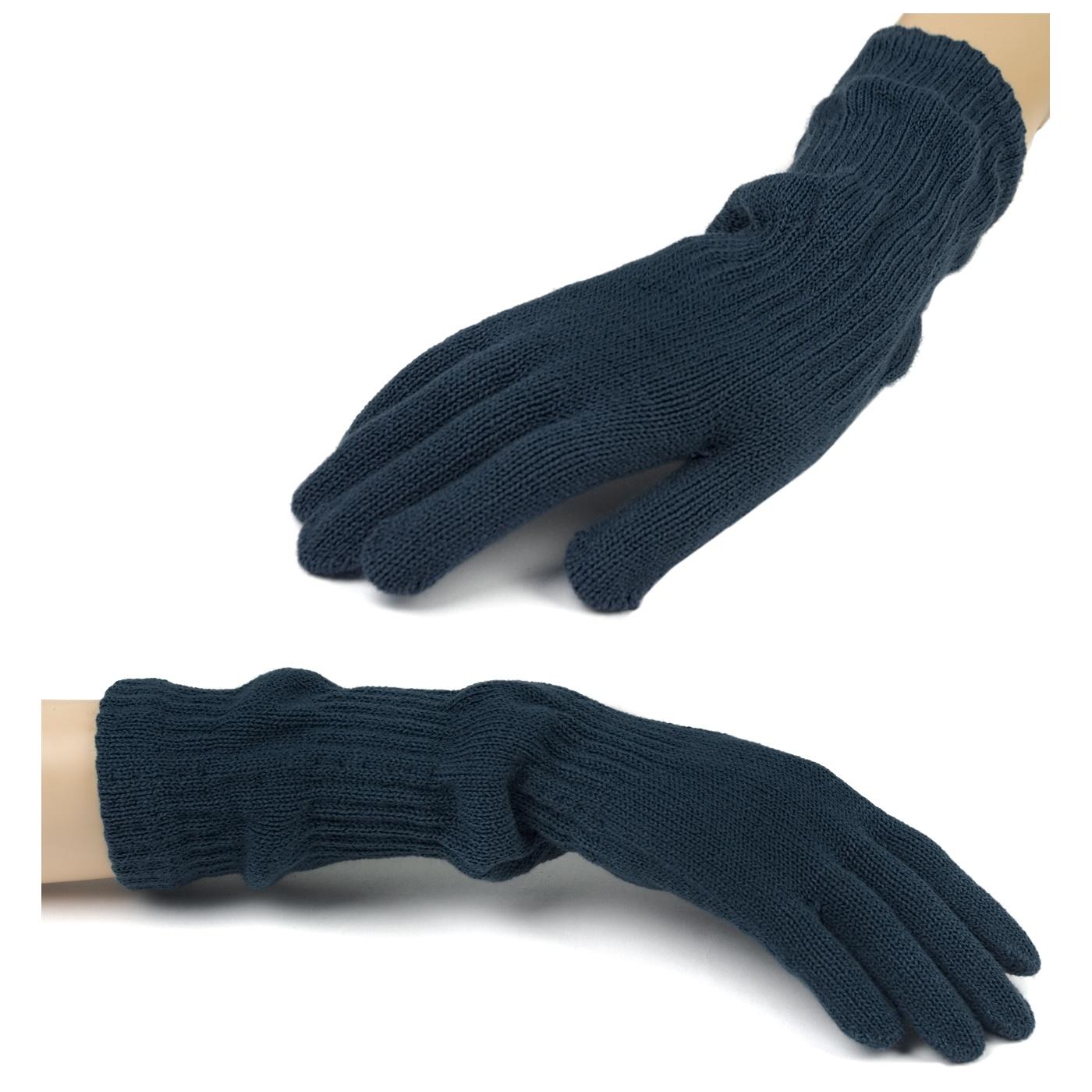 Damskie długie rękawiczki - granatowe 2