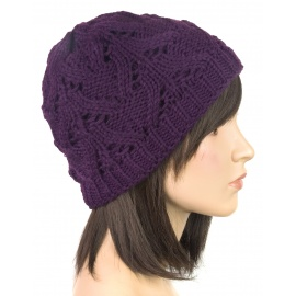 Klasyczna zimowa czapka damska z ażurowym splotem: śliwkowa