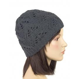 Klasyczna zimowa czapka damska z ażurowym splotem: grafitowa (2)