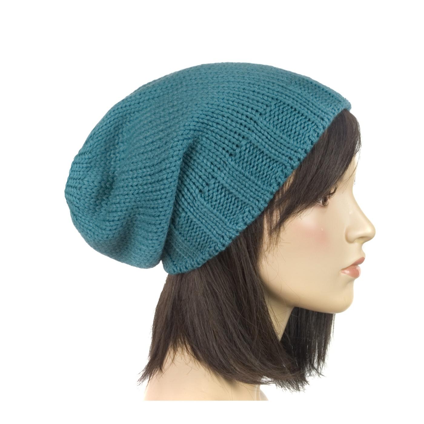Długa czapka zimowa krasnal – morska