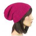 Długa czapka zimowa krasnal – ciemnoróżowa