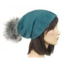 czapka zimowa krasnal z pomponem z futerka – morska