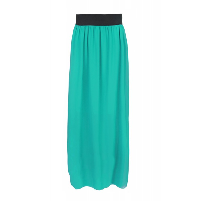 Długa spódnica z szyfonu – miętowy