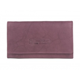 Damski portfel ze skóry naturalnej Money Maker - różowo-fioletowy