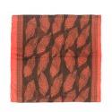 Szalik w liście – brązowy z łososiowym