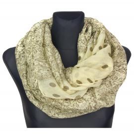 Beżowy szalik w brązowe groszki i ornamenty