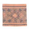 Szalik wzorzysty - pastelowy łososiowy z jeansowym