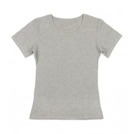 Gładka damska bluzka z krótkim rękawem – popielaty