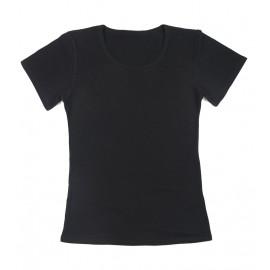 Gładka damska bluzka z krótkim rękawem – czarny