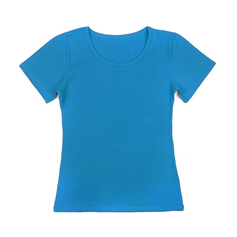 Gładka damska bluzka z krótkim rękawem – niebieski