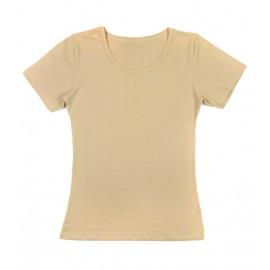 Gładka damska bluzka z krótkim rękawem – beżowy