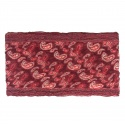 Szalik komin wzorzysty w piórka – odcienie czerwieni