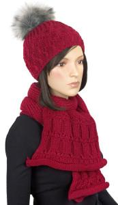 Komplet zimowy - szalik i czapka z pomponem