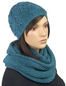 Komplet zimowy: klasyczna czapka damska i komin morski