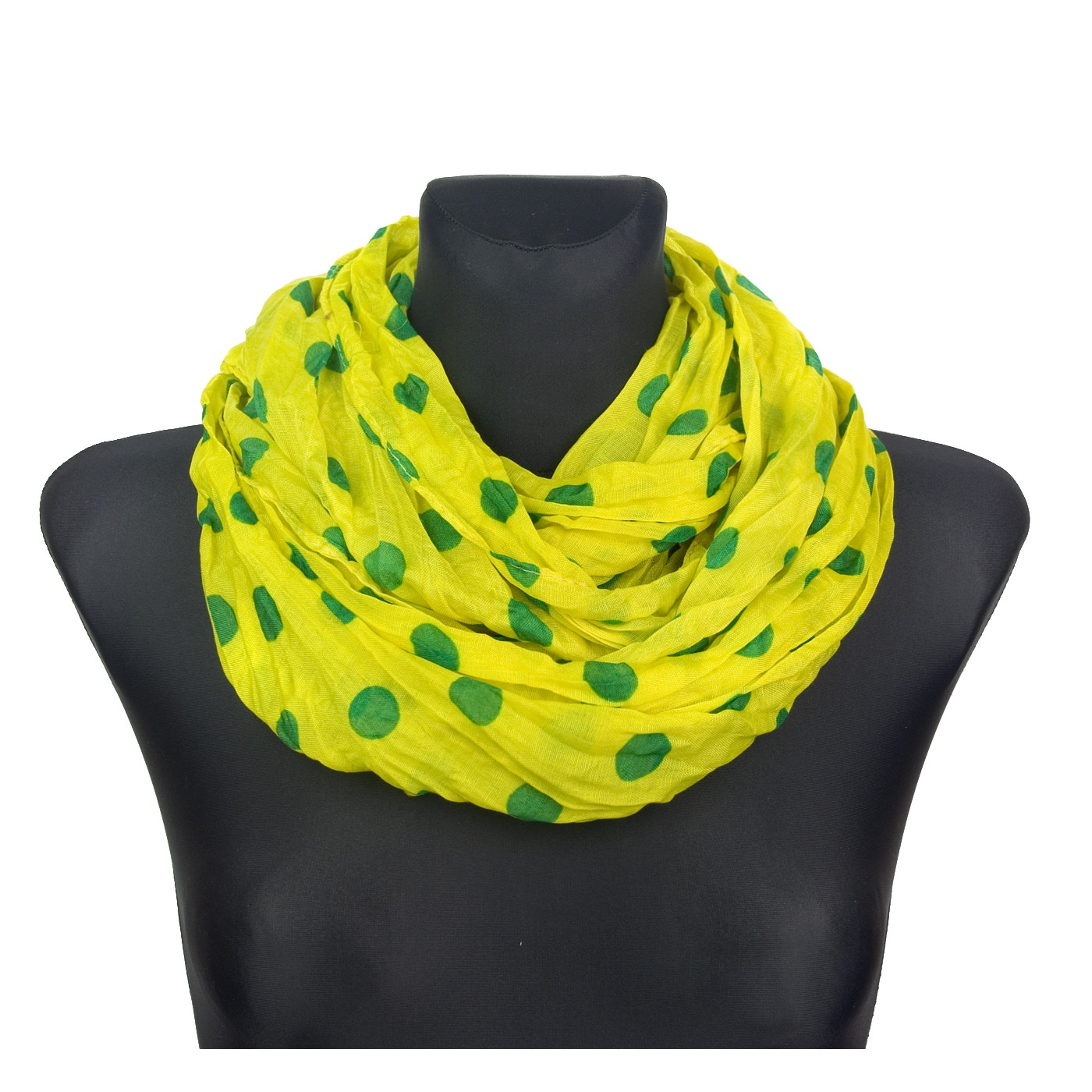 Szalik komin w groszki – żółto-zielony