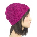 Zimowa czapka damska Hela - amarantowa różowa