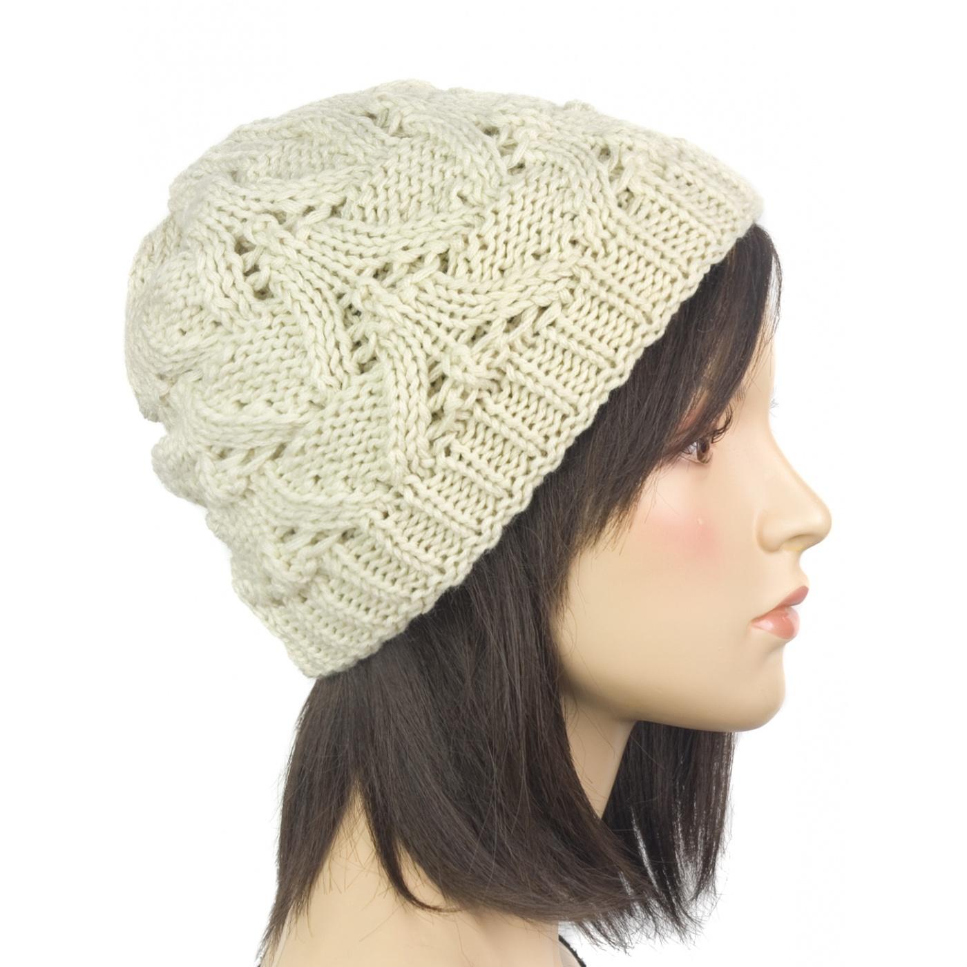Klasyczna zimowa czapka damska z ażurowym splotem: beżowa