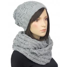 Komplet - damska czapka zimowa krasnal i szal komin: popielaty