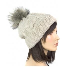 Damska czapka zimowa wywijana Lisa - beżowa w warkocze