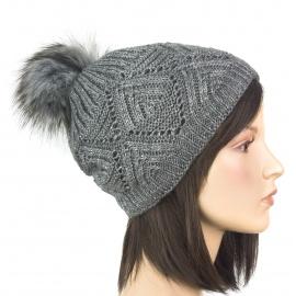 Ciepła damska czapka zimowa Karo z pomponem z futerka - ciemnoszara