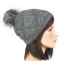 Ciepła damska czapka zimowa z pomponem z futerka: grafitowy