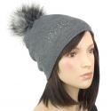 Elegancka damska czapka zimowa z pomponem z futerka: popielaty